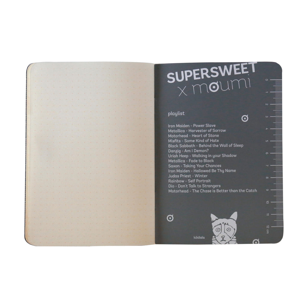 supersweet, moumi, notebook, a6, black cover, black, black on black, spot uv, sticker, logo, plain, minimal