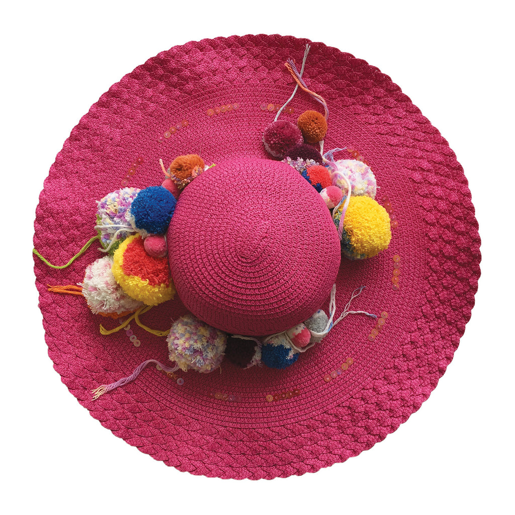 wide brim, hat, straw, hand made, supersweet, moumi, colourful, super sweet, embroidery, beads, sequins, pom pom, multicolour, pom poms, pink, fuschia, magenta