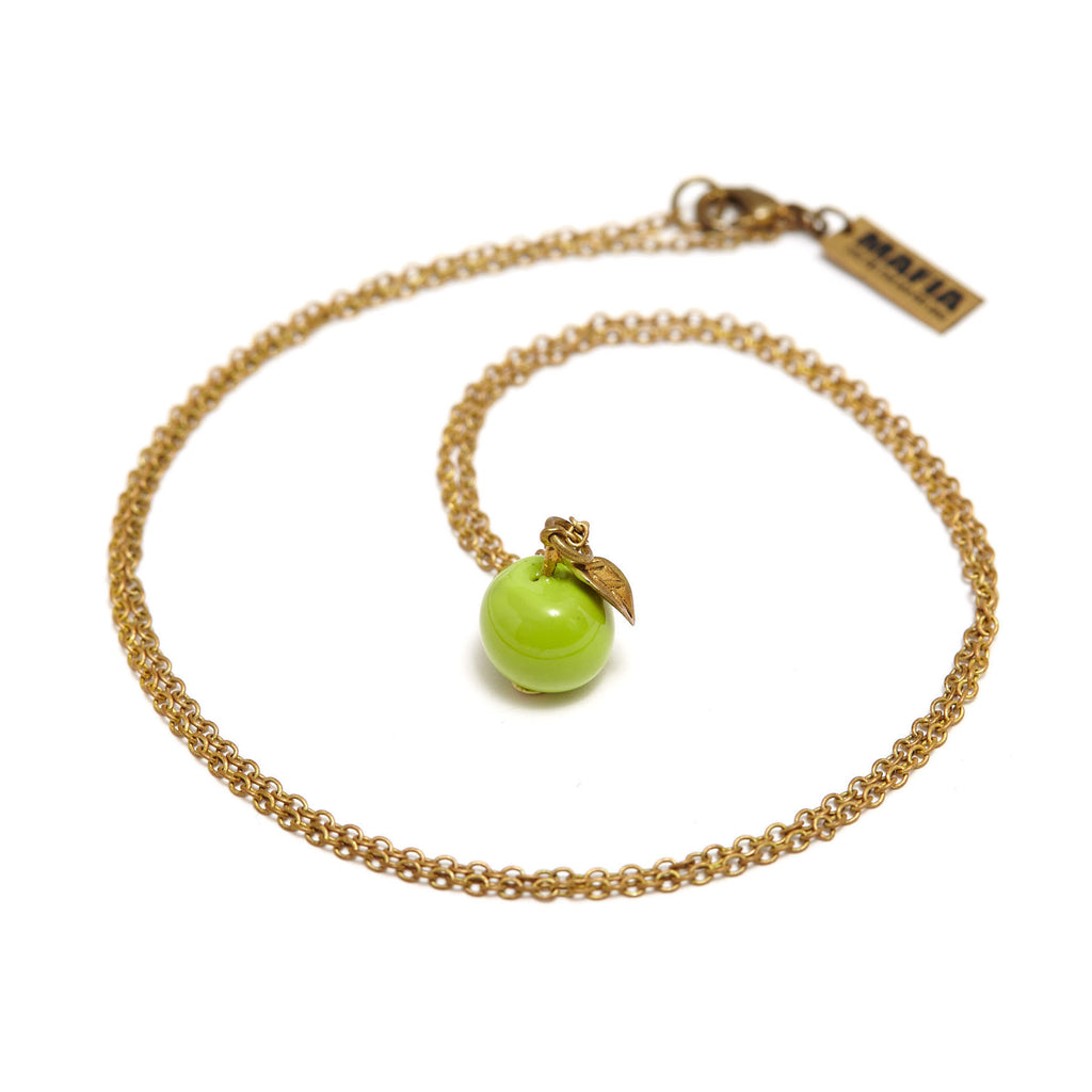 mafia, jewelry, jewellery, accessories, accessory, designer, thailand, bangkok, brass, accessorize, gold, charms, vintage, unisex, charm, chunky, apple, green, enamel, necklace