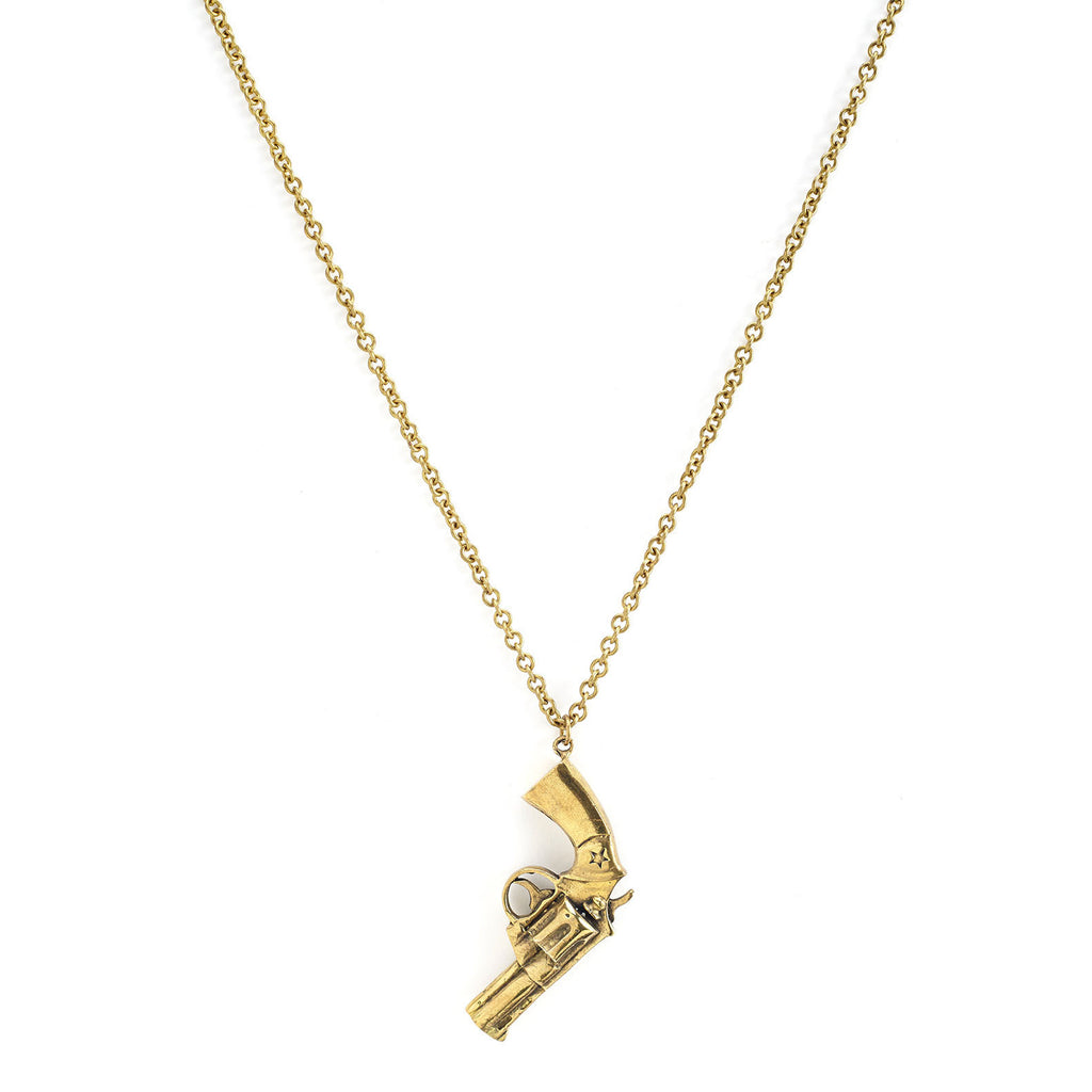 mafia, jewelry, jewellery, accessories, accessory, designer, thailand, bangkok, brass, necklace, gun, revolver, long, chain, gold
