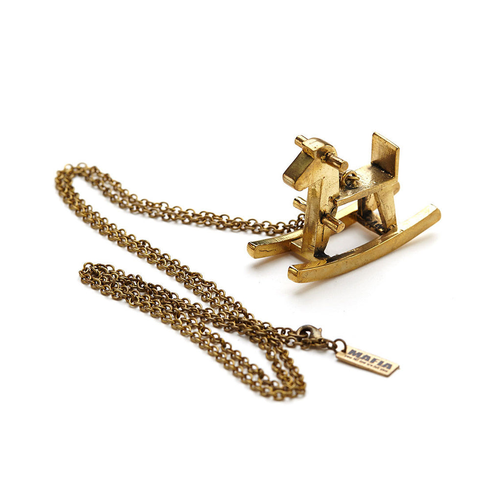 mafia, jewelry, jewellery, accessories, accessory, designer, thailand, bangkok, brass, necklace, accessorize, long, chain, gold, charms, thumbelina, vintage, unisex, charm, chunky, rocking, horse