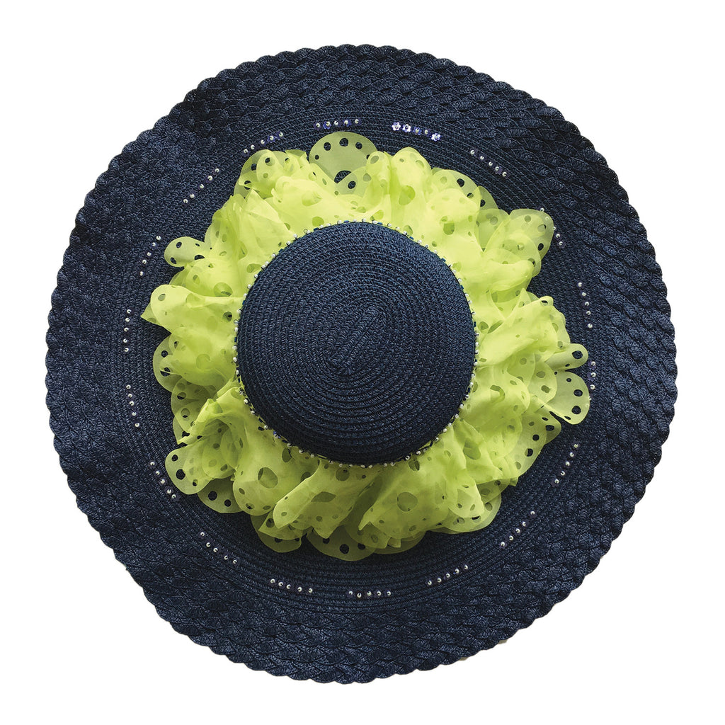 wide brim, hat, straw, hand made, supersweet, moumi, colourful, frills, frill, navy, dark blue, lime, super sweet, chiffon, lace, embroidery