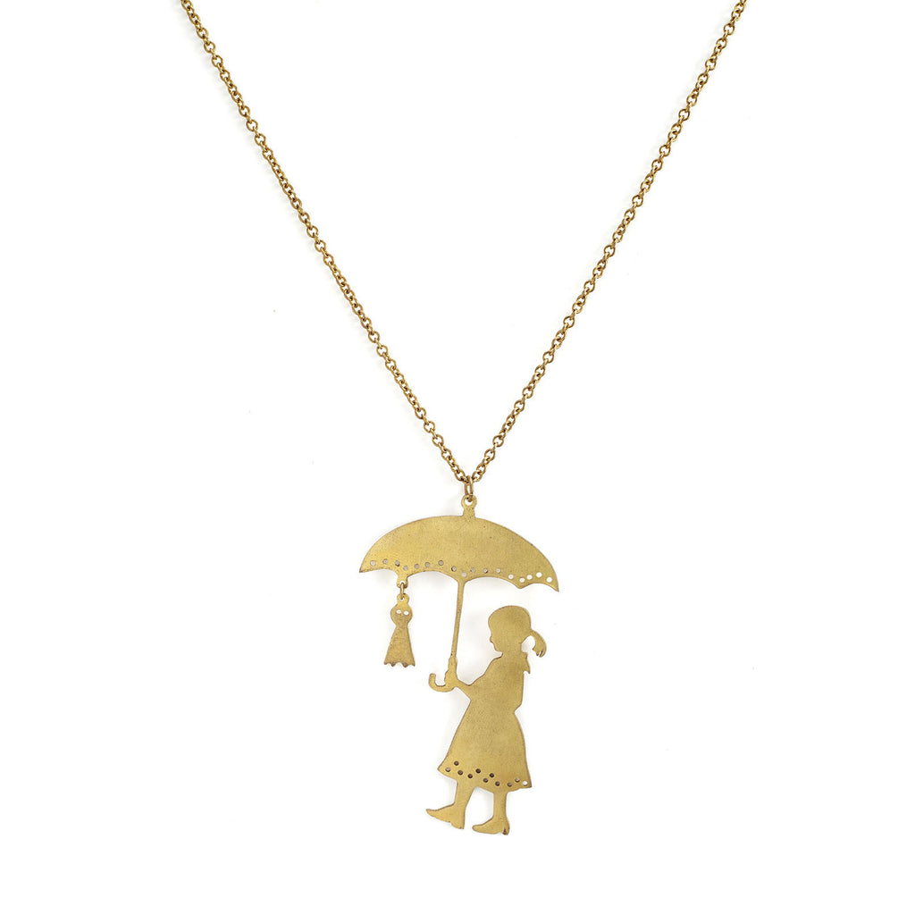 mafia, jewelry, jewellery, accessories, accessory, designer, thailand, bangkok, brass, necklace, doll, umbrella, child, girl, accessorize, long, chain