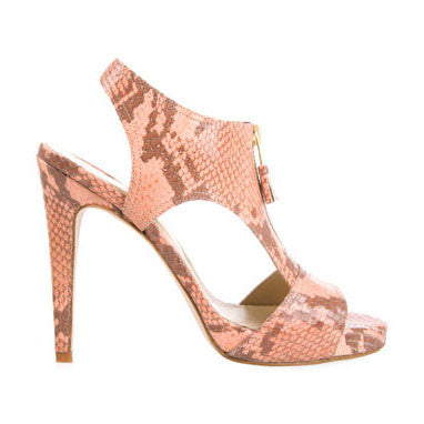 Dusty Pink Snakeskin Zip Heels