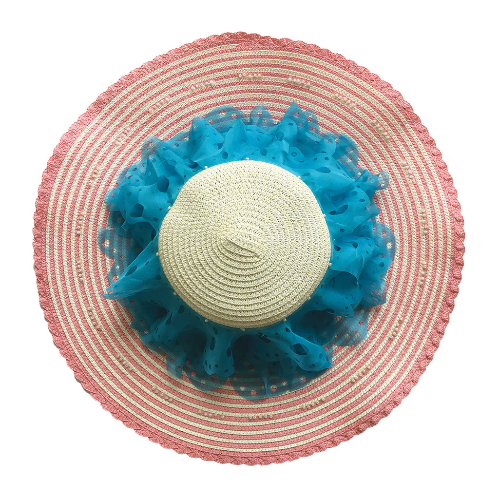 wide brim, hat, straw, hand made, supersweet, moumi, colourful, frills, frill, pink, blue, super sweet, chiffon, lace, embroidery
