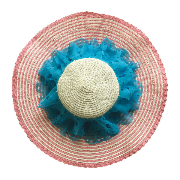 Two-Tone Frilly Brimmed Hat