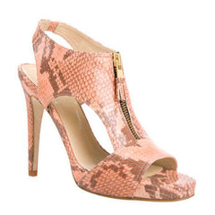 opening ceremony, nyc, new york, snakeskin, faux, pink, blush, salmon, light, sandals, high heels, gold, zip, zipper, bling