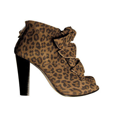 opening ceremony, nyc, new york, brown, leopard, print, bow, suede, leather, boots, booties, peep toe, high heels, chunky, cool, party, fun, shoes, footwear