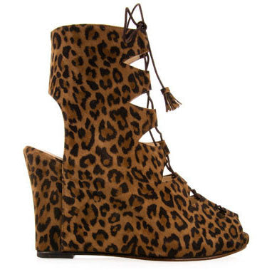 opening ceremony, nyc, new york, brown, leopard, print, bow, suede, leather, boots, booties, peep toe, high heels, chunky, cool, party, fun, shoes, footwear, wedge, lace up, ankle