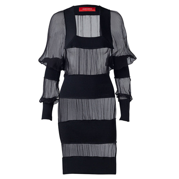 Black Square Stripe Dress