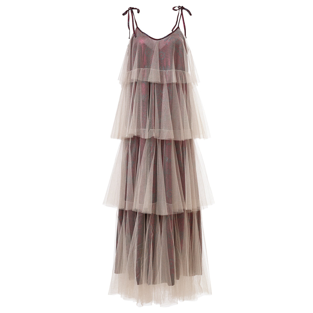 ss18, vintage, supersweet, super sweet, see through, ruffles, frills, plain, nightie, dress, night gown, moumi, gown, glitter, ethereal, binkie, frilly, floaty, frou frou, tulle, maxi, dress, tier, spaghetti strap, resort, glitter jersey, glitter, wine, bordeaux, magenta, cream, white, off white, gold