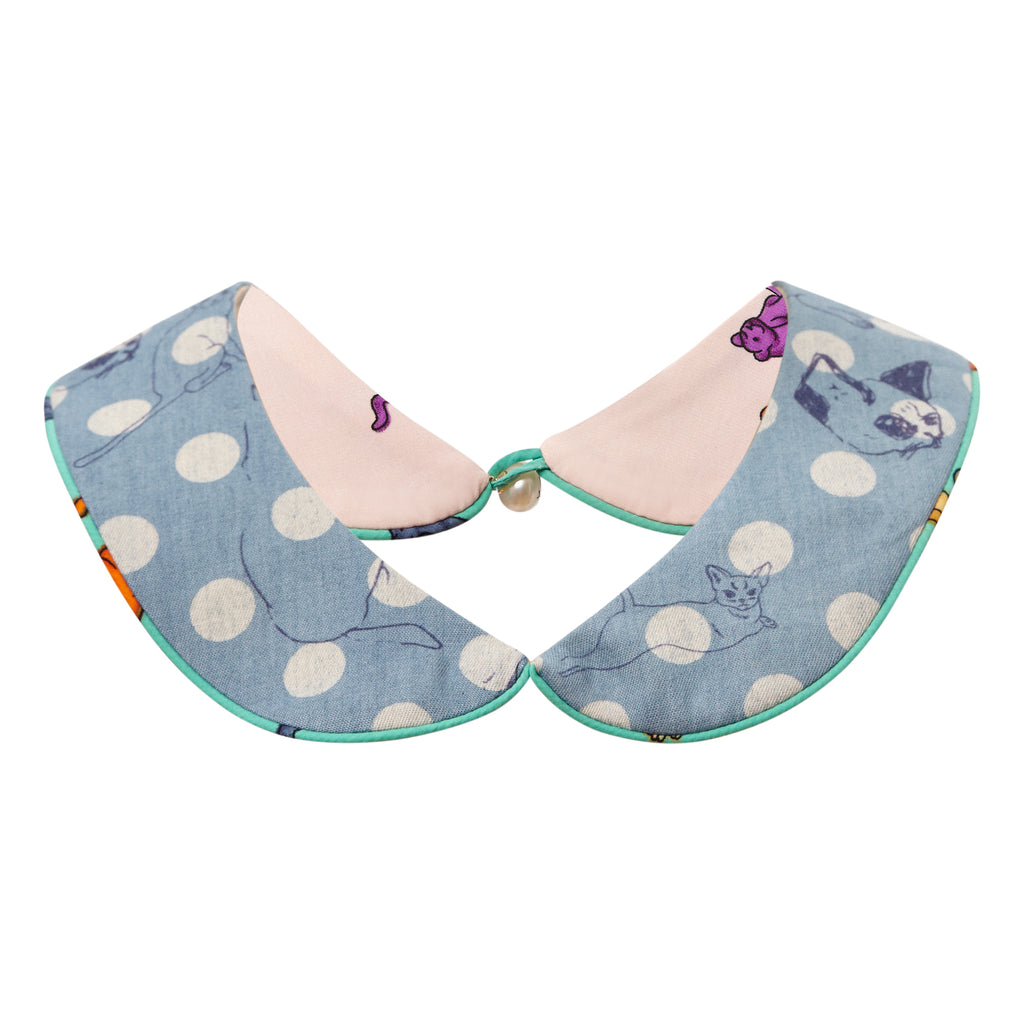 collar, greatest hits, ss18, reversible, denim, cat print, cats, cat, meow, polka dot