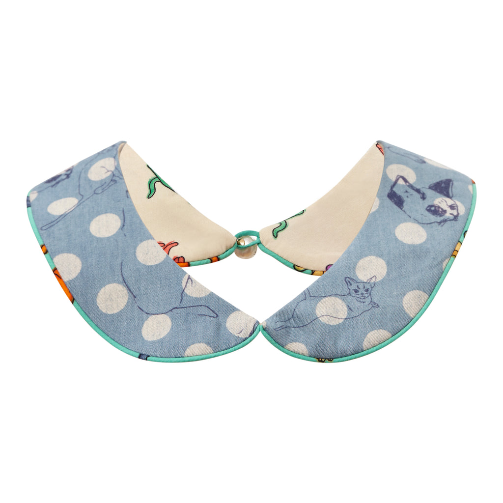 supersweet, super sweet, moumi, cats, collar, shirt, accessory, accessories, reversible, denim, ss18, polka dots