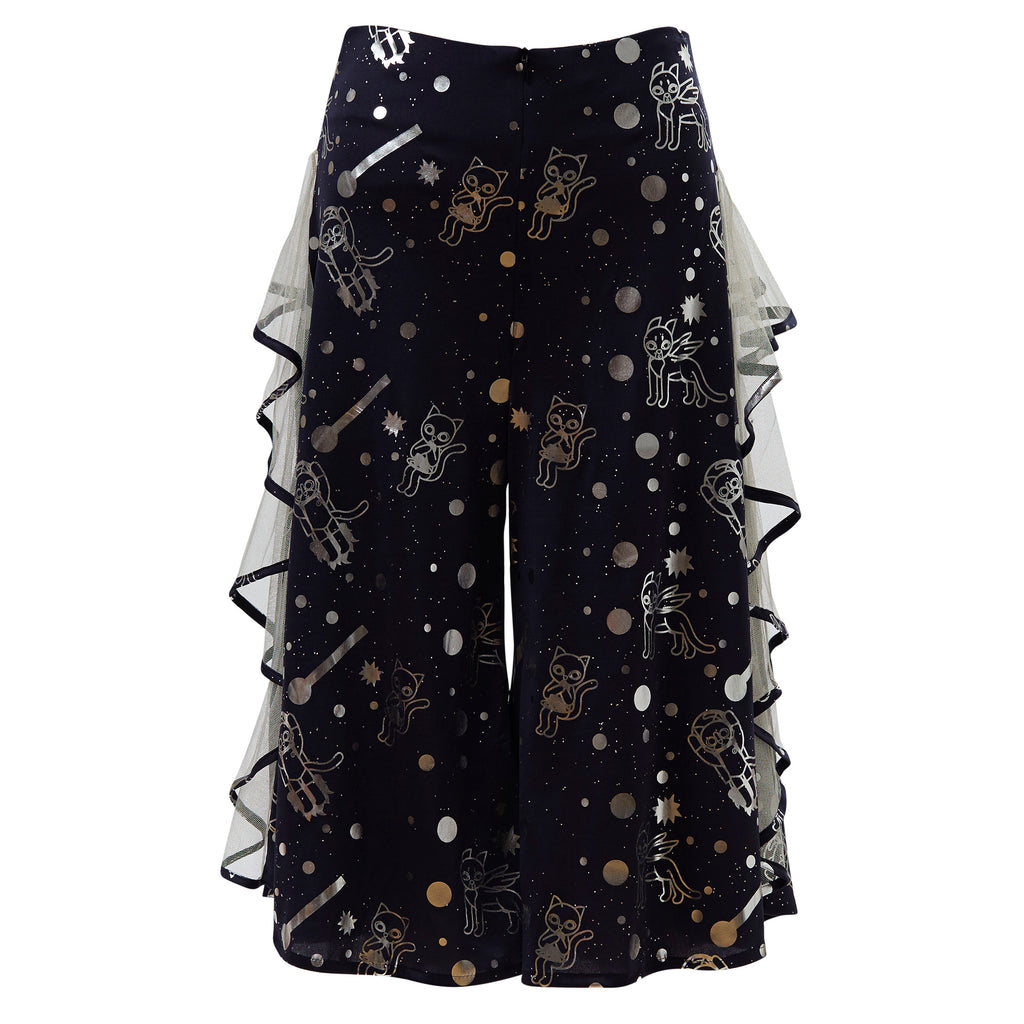 supersweet, moumi, super sweet, shopping, cat, cats, cat lover, cat print, crazy cat lady, meow, kitties, kittens, aw19, supervixen, foil, silver, screen print, cropped, culottes, trousers, flares, flounces, frills,