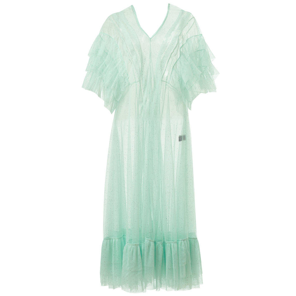 supersweet, super sweet, moumi, pink, tulle, dress, ss18, purrple label, frills, ruffles, mint, green, soft