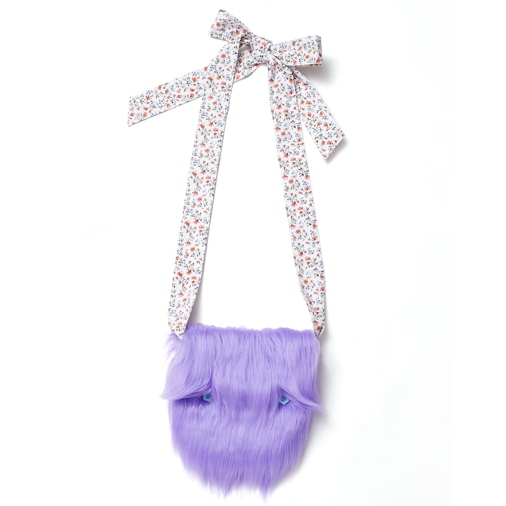 supersweet, super sweet, moumi, fur, faux fur, ipad, bag, swing, clutch, purple, meow, furry, fun