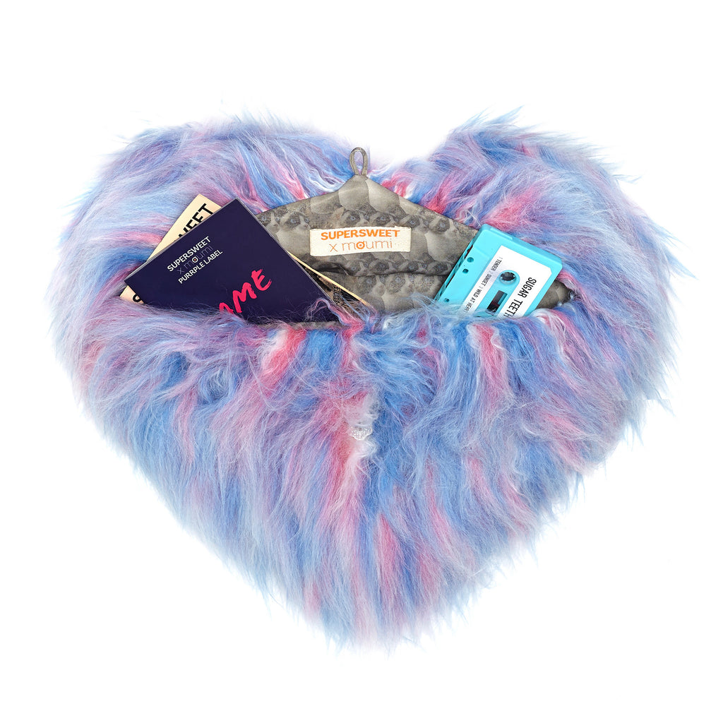 supersweet, super sweet, moumi, fur, faux fur, heart, bag, swing, pantone, pink, blue, cotton candy, candyfloss, meow, furry, fun
