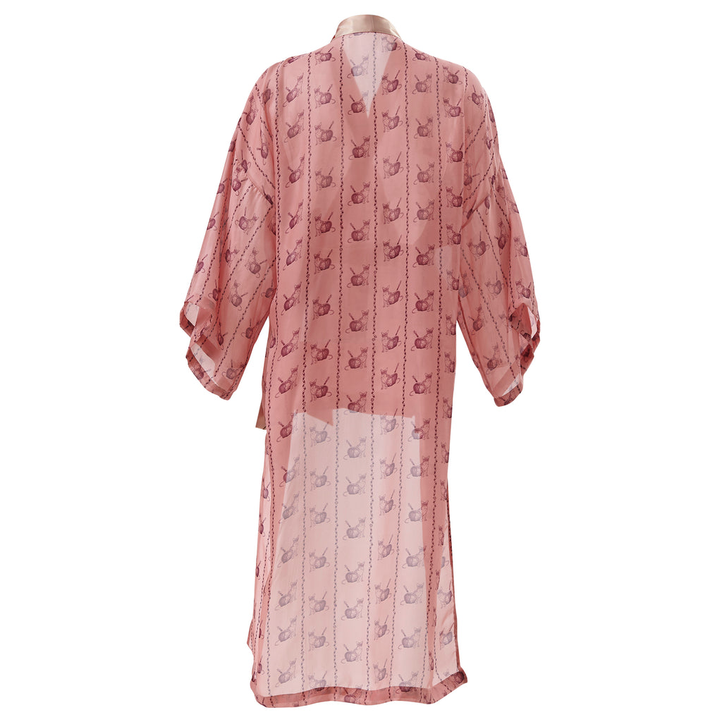 supersweet, moumi, super sweet, shopping, cat, cats, cat lover, cat print, crazy cat lady, meow, kitties, kittens, aw19, supervixen, kimono, yukata, wrap, loungewear, lounge, parma, pink, mauve, dusty, apple, poison, shingosen, chiffon, silk