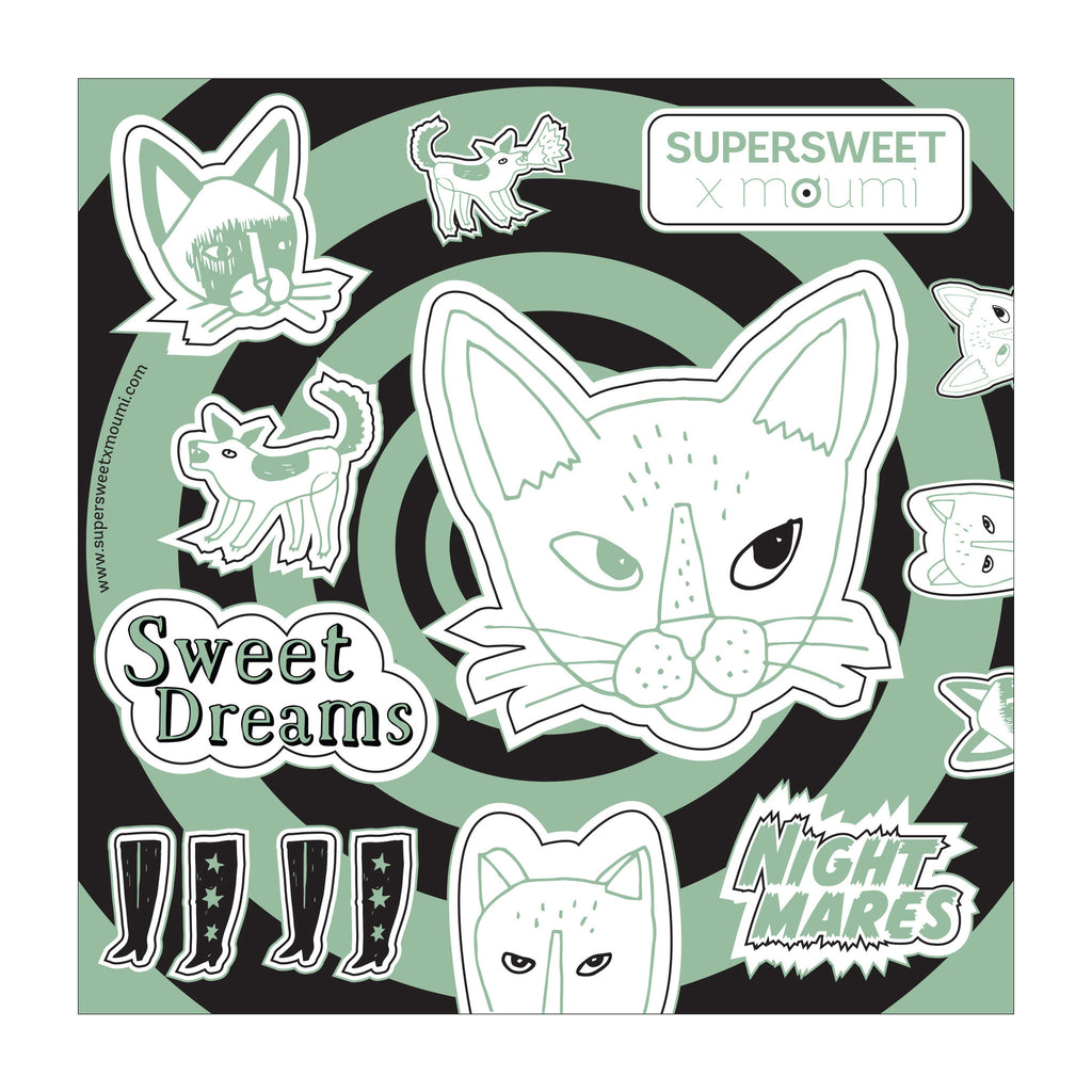 hologram, glitter, nightmares, sweet dreams, cats, cat, dogs, illustrations, michael zander, meow, green, black, supersweet, moumi, art, craft, diy, stationery, sticker, stickers, psychedelic, swirl, comic