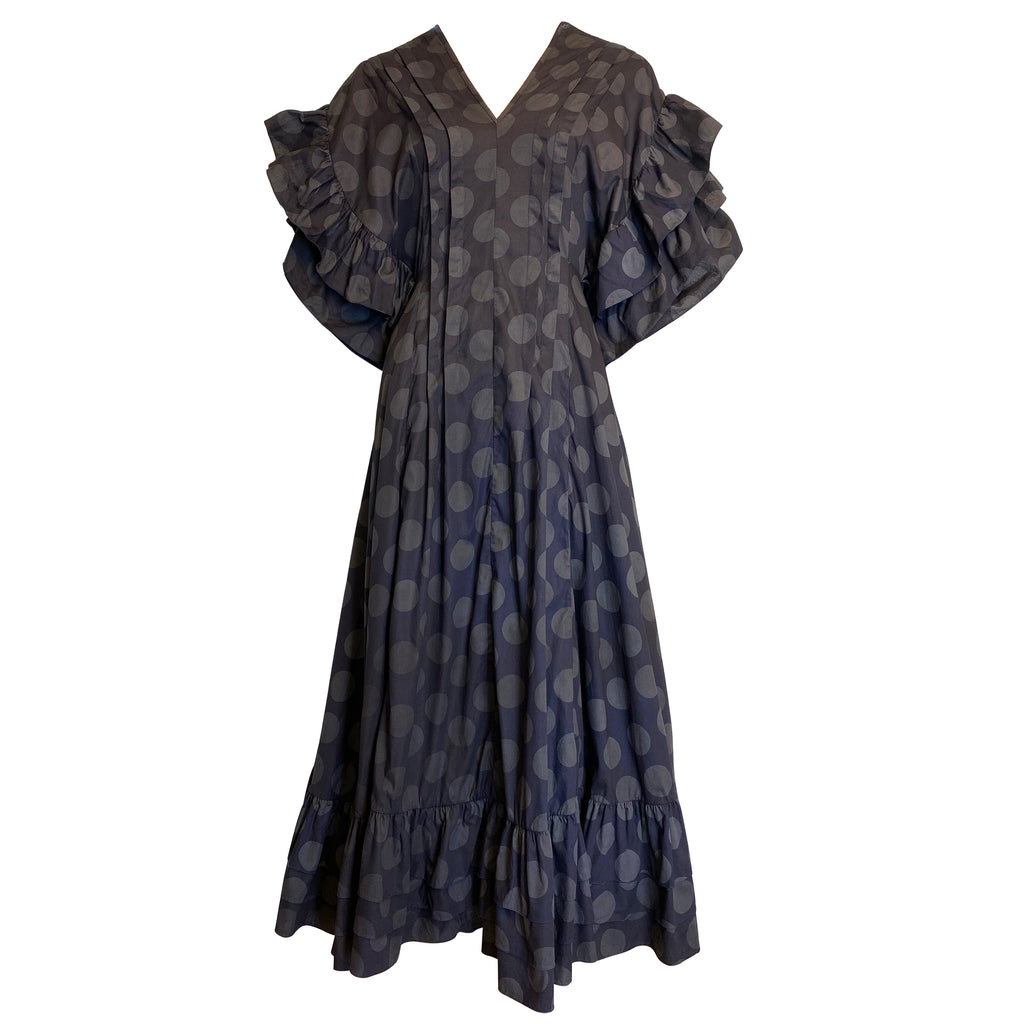 super sweet, supersweet, moumi, dress, polka dots, polka dot, navy, black, grey cotton