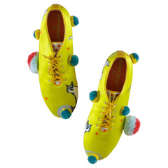 wedge, platform, shoes, jazz, lace up, footwear, supersweet, moumi, tennis, green, volt, orange, polka dot, yellow, cats, cat print, ping pong, table tennis, pom pom, pompoms, kitsch