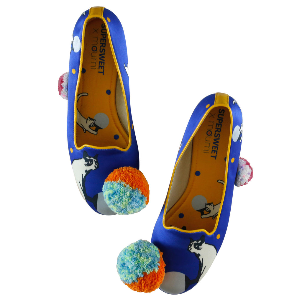 wedge, platform, shoes, slippers, slip on, loafer, supersweet, moumi, cobalt, blue, polka dot, yellow, cats, cat print, ping pong, table tennis, pom pom, pompoms, kitsch