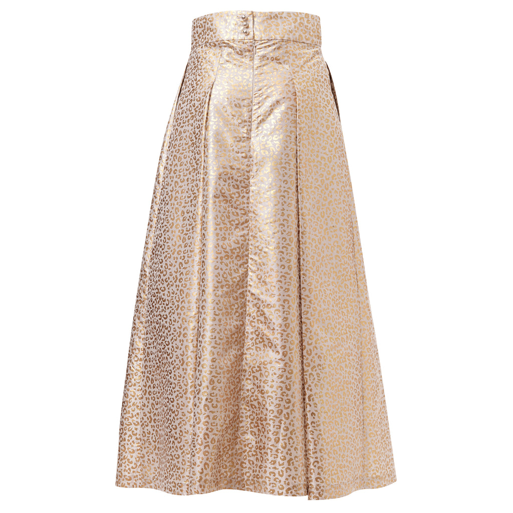 by moumi, moumi, meow, gold, foil, print, white, metallic, skirt, midi, a-line, greatest hits
