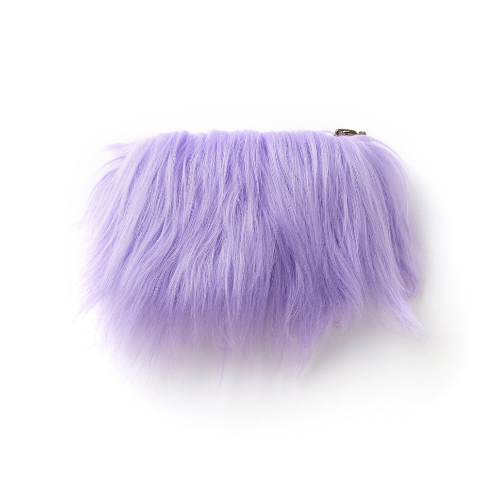unicorn, supersweet, super sweet, moumi, fur, faux fur, bag, purse, card wallet, pantone, zipper, small, purple, meow, furry, fun