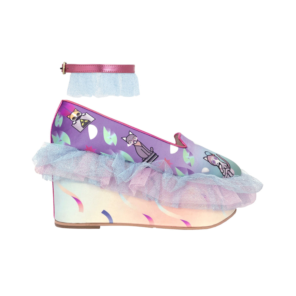 purple, pastel, light, frills, ruffles, mesh, glitter tulle, tulle, lilac, lavender, frilly, wedge, shoes, platforms, metallic trims, moumi, superweet, heels, cats, cat prints, radioactive, anklets, baby blue, ombre, gradient