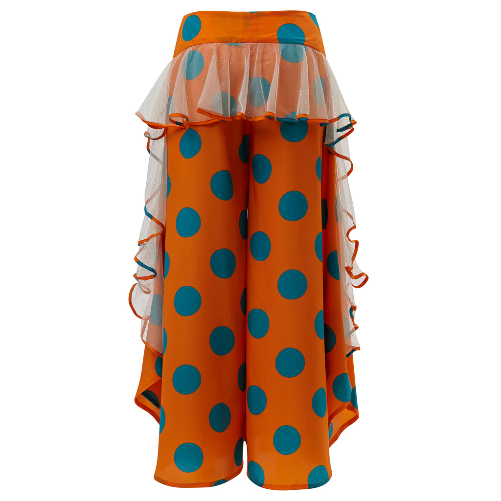 supersweet, moumi, super sweet, shopping, cat, cats, cat lover, cat print, crazy cat lady, meow, kitties, kittens, aw19, supervixen, culottes, trousers, flares, flounces, frills, orange, green, polka dot, polka dots, dots