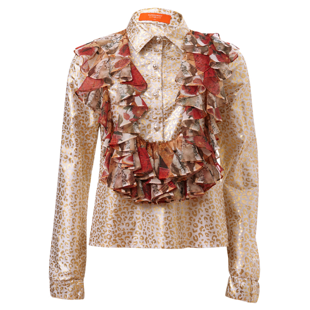 moumi, frills, shirt, by moumi, moumi, meow, gold, foil, print, white, metallic, greatest hits