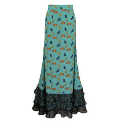 green, skirt, tigers, frills, ruffles, maxi, dress, supersweet, moumi, ss15, tiered, multicolour, multicolor, long, black chiffon, shingosen