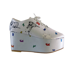 wedge, platform, shoes, jazz, lace up, footwear, supersweet, moumi, white, ash, grey, light, tigers, cats, cat print, sample, kitsch