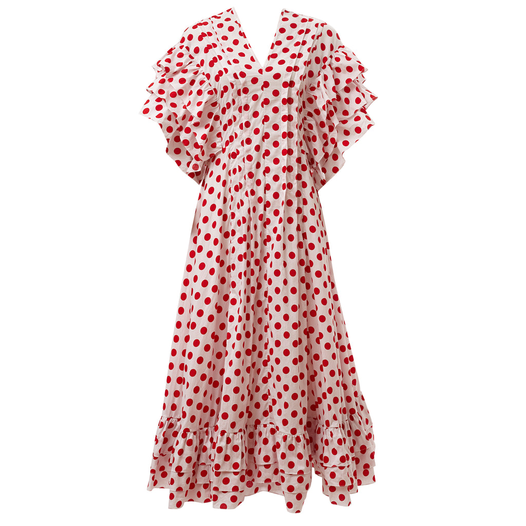 super sweet, supersweet, moumi, dress, polka dots, polka dot, red, white, cotton