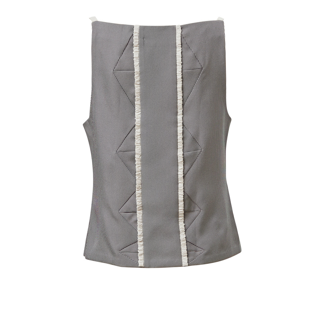 giliyate, creative, conceptual, quirky, korean, fashion, white, satin, pleated, top, monochrome, sleeveless, panel, triangle, triangular, grey, striped, pinstripes