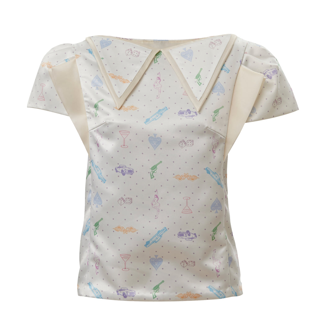 giliyate, creative, conceptual, quirky, korean, fashion, white, satin, pastel, top, short sleeve