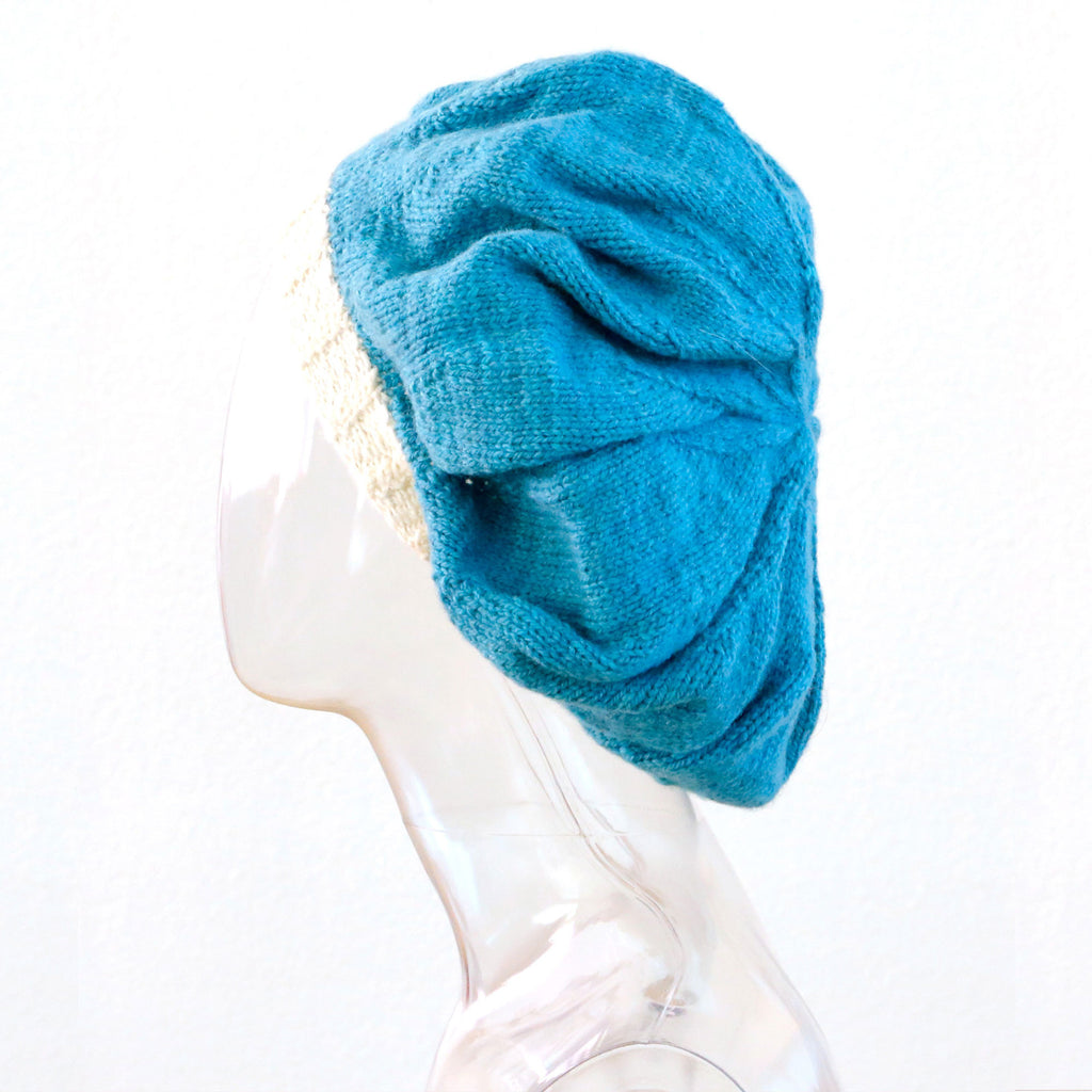 knitted hat, beanie, beret, brown, cashmere, merino wool, bright blue, marc smollin, SUPERSWEET x moumi, asymmetrical