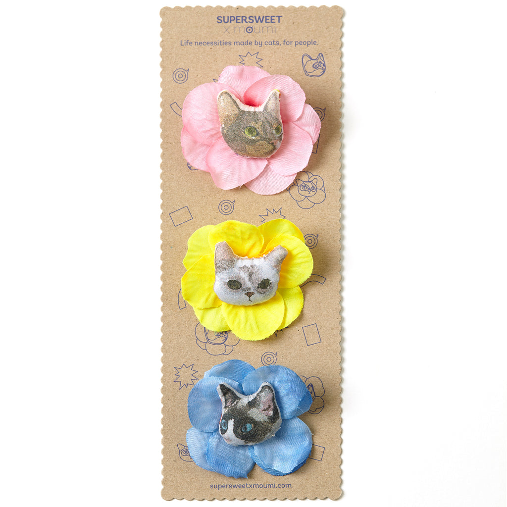 supersweet, super sweet, moumi, purrple label, cr18, blue lagoon, cat, cats, neko, cat lover, brooch, broooches, brooch set, cat head, flower, flowers, floral, plumeria, frangipani, cat brooch, pins, pink, blue, yellow, myogi, kikilala