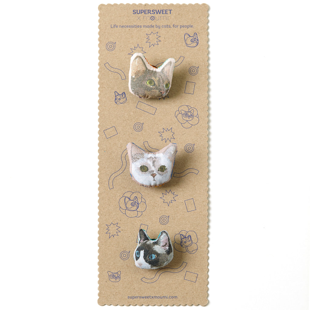 supersweet, super sweet, moumi, purrple label, cr18, blue lagoon, cat, cats, neko, cat lover, brooch, broooches, brooch set, cat head, zakka, tiny head, minimal, cat brooch, pins, myogi, kikilala