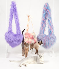 supersweet, super sweet, moumi, fur, faux fur, clutch, heart, bag, swing, pantone, pink, blue, cotton candy, candyfloss, meow, furry, fun, myogi, kikilala, heart