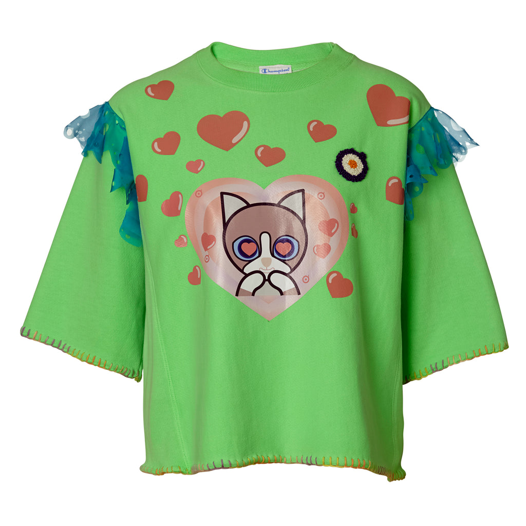 supersweet, super sweet, moumi, moumiactive, activewear, sweat top, jumper, pullover, shirt, top, sweat, fluo, fluoro, fluorescent, green, hearts, cats, cat, neko, crazy cat lady, frills, blue, chiffon, lace,
