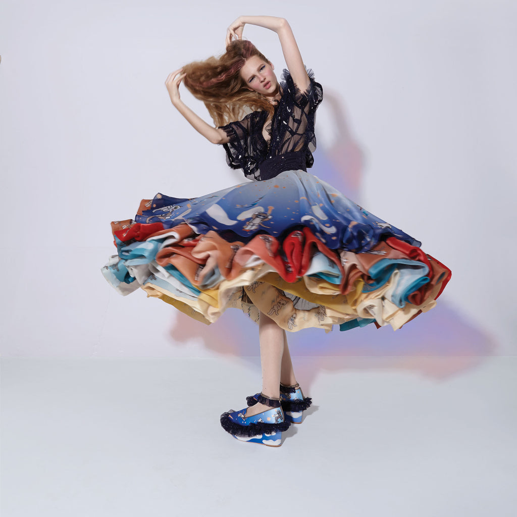superstar, skirt, layer, layers, finale, ballgown, space, cat, cats, meow, crazy cat lady, galaxy, atmosphere, circular, border, catgasus, astronaut, clouds, ombre, gradient, supersweet, super swet, moumi, twirl, model, fashion, lookbook, girl