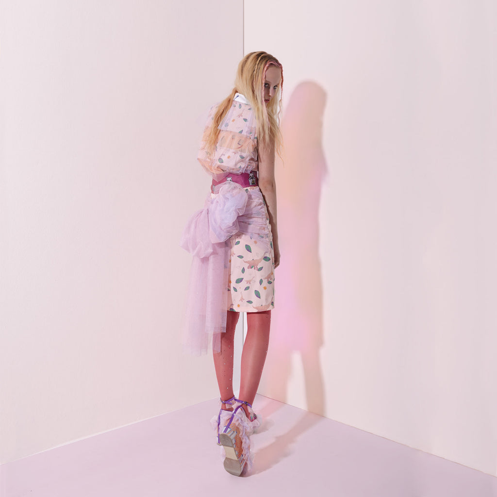 ss16, moumi, silk, pink, leaves, organdie, shirt, sleeveless, glitter, tulle, lilac, purple, feminine, summer, supersweet, look book, girls, models