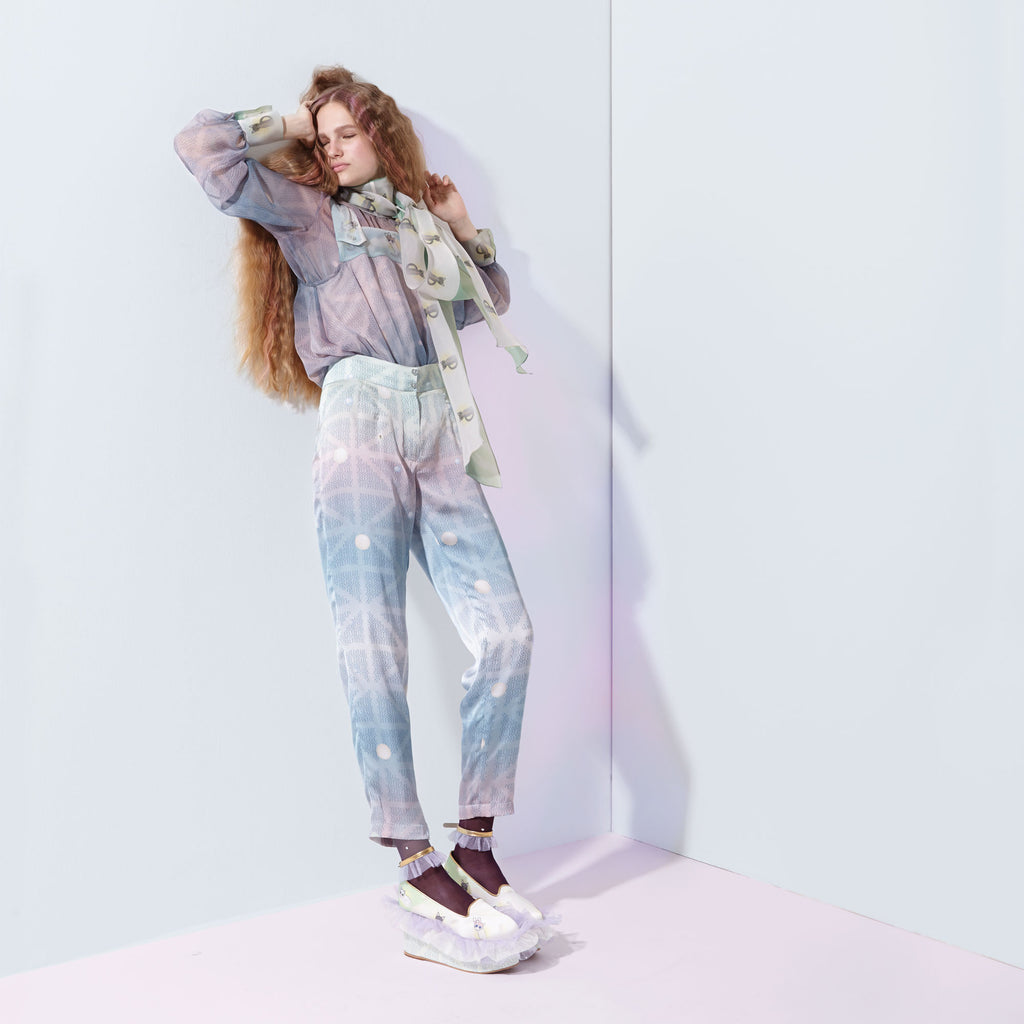 supersweet, moumi, super sweet, pastel, pastels, pantone, satin, silk, blue, baby, cream, pink, rainbow, lilac, off white, fashion, style, ss16, wish you were here, sale, sample sale, trousers, pearl, dew drops, sky, bubbles, lookbook, model, capri, pants