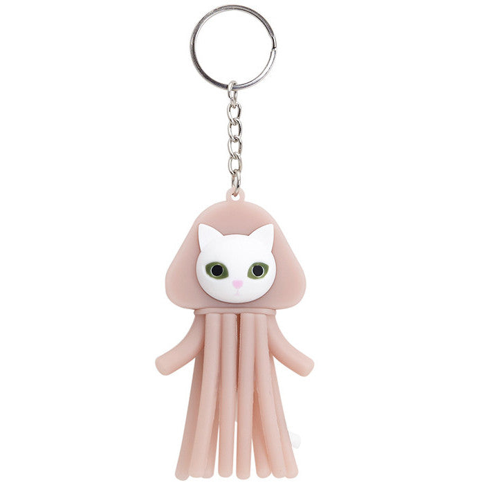 pink, keychain, keyring, cat, jelly fish, squid, usb, 8gb, pvc, silicone, myogi, accessories
