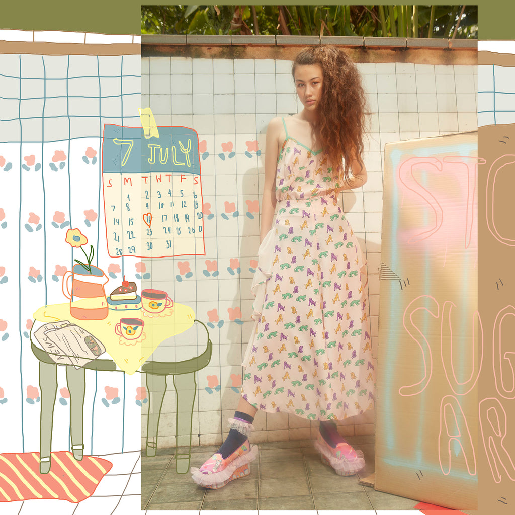 supersweet, moumi, super sweet, shopping, cat, cats, cat lover, cat print, crazy cat lady, meow, kitties, kittens, aw19, supervixen, pink, pastel, culottes, trousers, flares, flounces, frills, pearldrop, mauve, jade