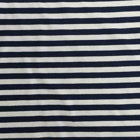 Navy And Cream Stripe Stretch Cotton (1meter)