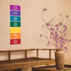 "41"" Hand-Painted Chakra Rainbow Wall Hanging"