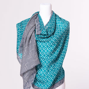 Labyrinth Wool Block Print Scarf