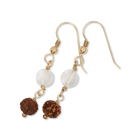 Rudraksha Drop Earrings with Crystal Beads